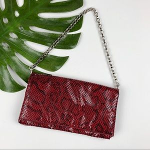 Alfani Red Snakeskin Print Faux Leather Purse